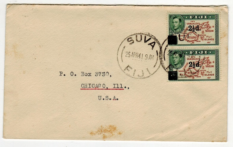 FIJI - 1941 2 1/2d on 2d surcharge pair on cover to USA used at SUVA.