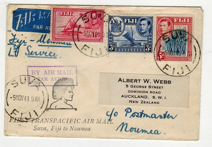 FIJI - 1941 first flight cover to Noumea.
