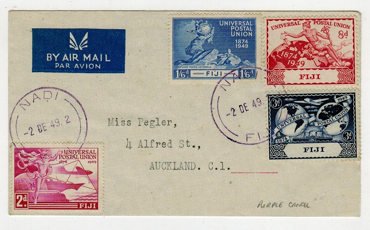 FIJI - 1949 UPU set on cover to New Zealand used at NADI with