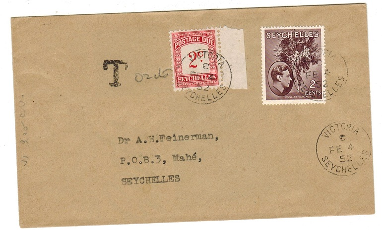 SEYCHELLES - 1952 underpaid local cover with 2c