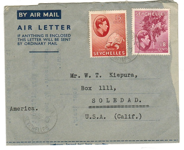 SEYCHELLES - 1949 use of FORMULA air letter to USA.