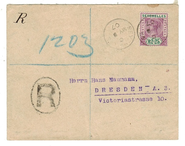 SEYCHELLES - 1907 registered cover to Germany with QV R2.25 adhesive late use.