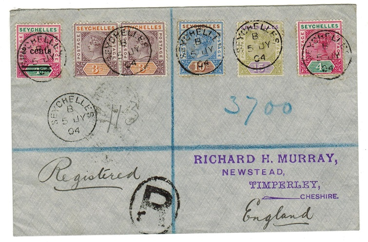 SEYCHELLES - 1904 registered cover to UK with multiple QV franking including 2c on 4c.