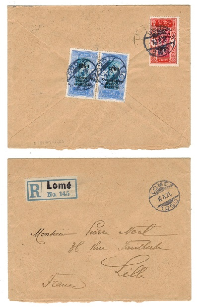 TOGO (French) - 1921 60c rate registered cover to France used at LOME.