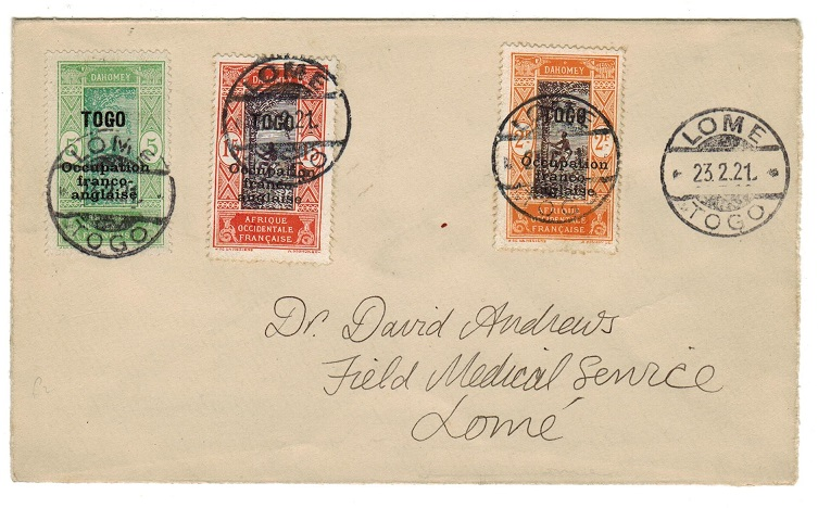 TOGO (French) - 1921 cover addressed to the