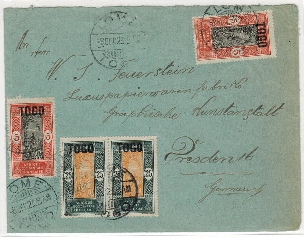 TOGO (French) - 1923 60c rate cover to Germany (fault) used at LOME.