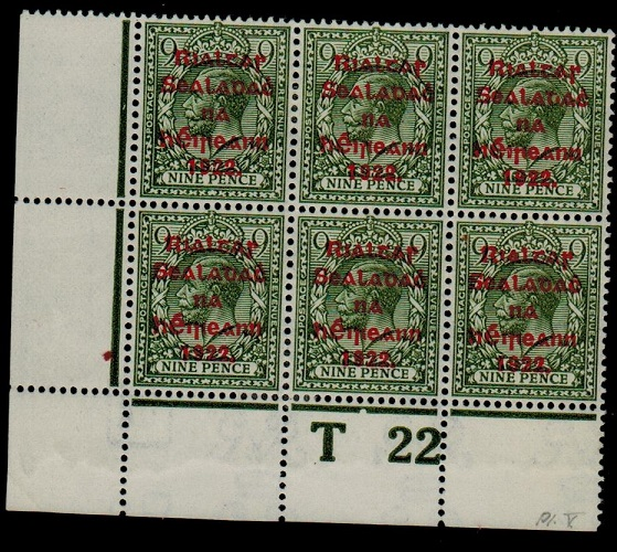 IRELAND - 1922 9d olive green fine mint T 22 (P) plate block of six.  SG 41.