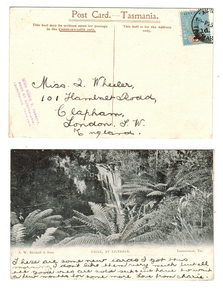 AUSTRALIA (Tasmania) - 1904 (circa) postcard bearing 1 1/2d on 5d surcharge used at LAUNCESTON.