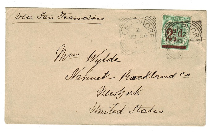 AUSTRALIA (South Australia) - 1892 cover to USA with 2 1/2d on 4d surcharge used at SEMAPHORE.