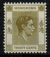 HONG KONG - 1938 30c yellow olive unmounted mint. Scarce.  SG 151.