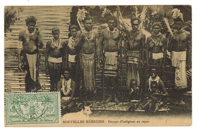 NEW HEBRIDES - 1922 postcard (unused) with 5c (French) issue tied VILA.