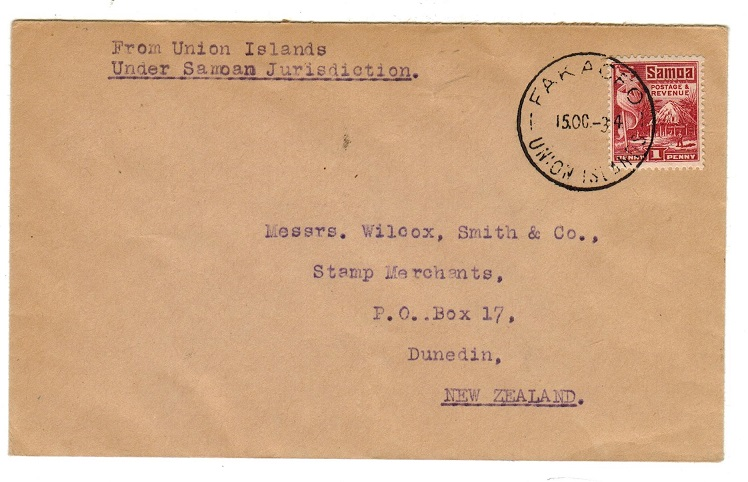 TOKELAU - 1934 1d rate cover to New Zealand used at FAKAOFO/UNION ISLANDS.