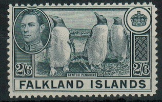 FALKLAND ISLANDS - 1938 2/6d slate unmounted mint.  SG 160.