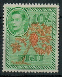 FIJI - 1950 10/- orange and emerald unmounted mint.  SG 266a.