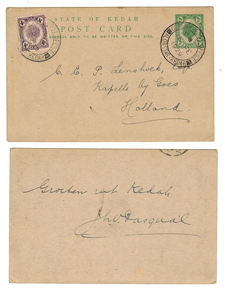 MALAYA (Kedah) - 1926 2c green PSC uprated to Holland and used at ALOR STAR.  H&G 6.