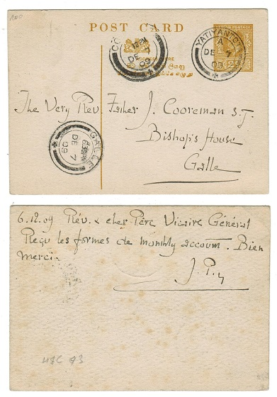CEYLON - 1906 2c olive yellow on white PSC to Galle used at YATIYANTOTA.  H&G 43.