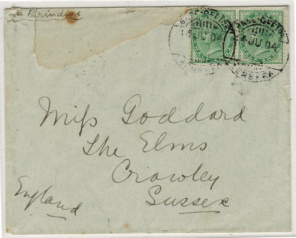 SOMALILAND - 1904 BASE OFFICE/BERBERA cover addressed to UK.