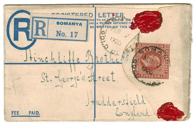 GOLD COAST - 1904 2d+2d RPSE to UK used at SOMANYA.  H&G 8.