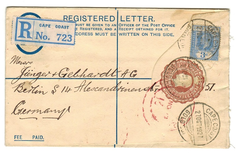 GOLD COAST - 1924 3d  RPSE to Germany uprated and used at CAPE COAST.  H&G 11c.