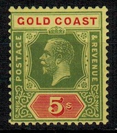 GOLD COAST - 1924 5/- green and red/yellow unmounted mint.  SG 98.