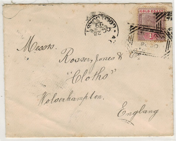 GOLD COAST - 1899 1d rate cover to UK cancelled by scarce ACCRA