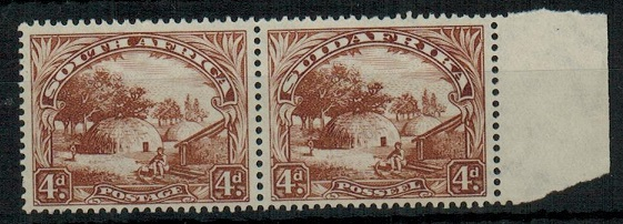 SOUTH AFRICA - 1936 4d brown unmounted mint pair.  SG 46c.
