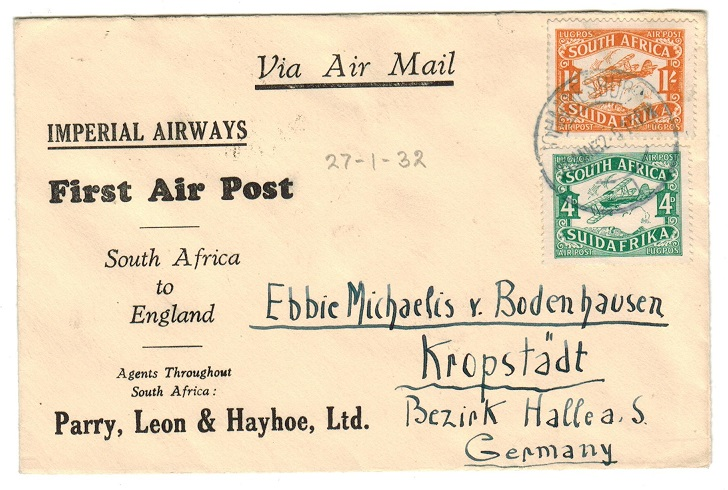 SOUTH AFRICA - 1932 first flight cover to Germany.