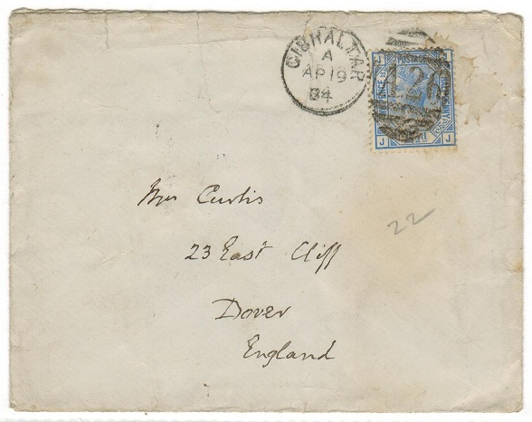 GIBRALTAR - 1884 GB 2 1/2d (plate 22) on cover to UK used at GIBRALTAR.
