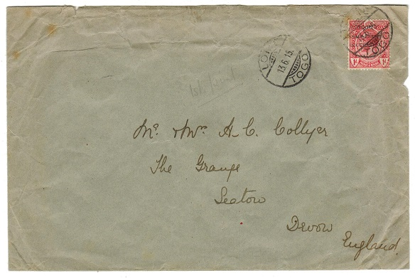 TOGO - 1915 1d rate cover to UK used at LOME.