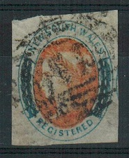 AUSTRALIA (New South Wales) - 1856 (6d) salmon and indigo used.  SG 103.