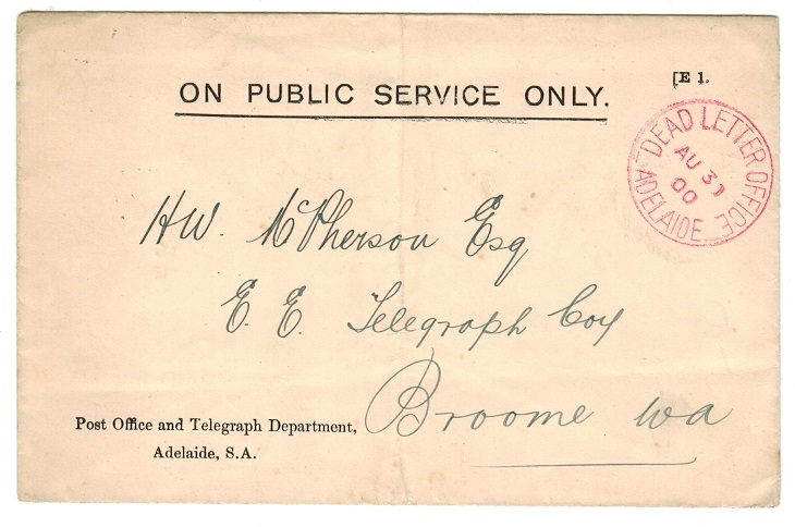 AUSTRALIA (South Australia) - 1900 stampless local cover with red DEAD LETTER OFFICE/ADELAIDE cds.