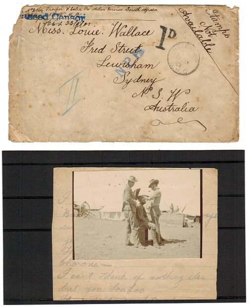 AUSTRALIA - 1901 inward BOER WAR cover from ORC by serving Australian trooper with 1d charge mark.