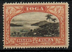 TONGA - 1897 5/- black and brown red unmounted mint.  SG 53.