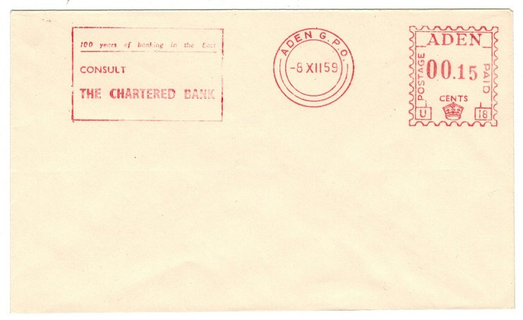 ADEN - 1959 ADEN POSTAGE 00.15 red meter TRIAL cover.