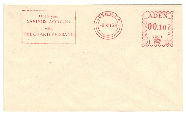 ADEN - 1959 ADEN POSTAGE 00.10 red meter TRIAL cover.
