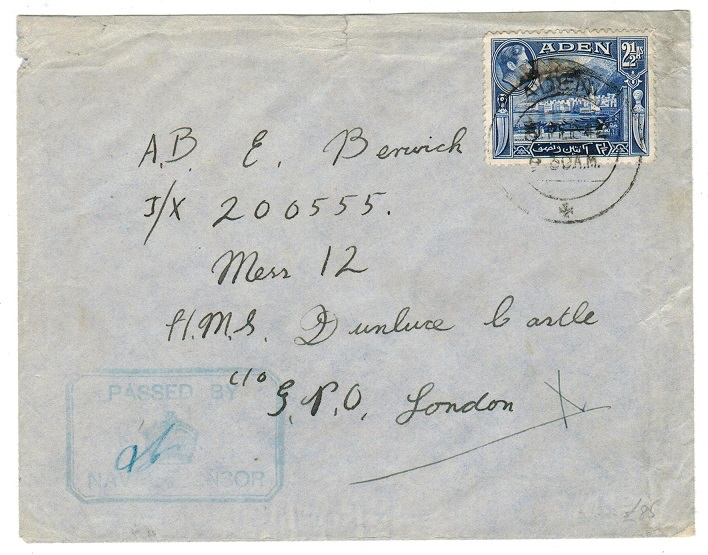 ADEN - 1942 naval censored cover to UK.