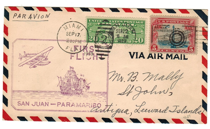 ANTIGUA - 1929 inward first flight cover from San Juan.