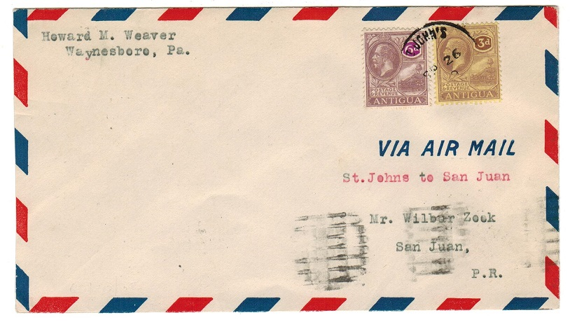 ANTIGUA - 1929 first flight cover to San Juan.