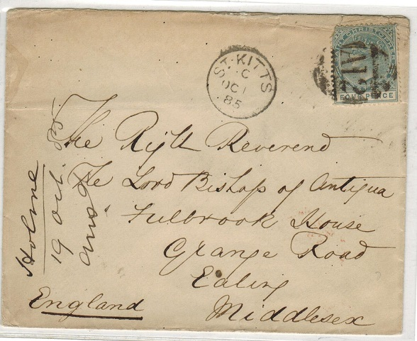 ST.CHRISTOPHER - 1885 4d rate cover to UK with