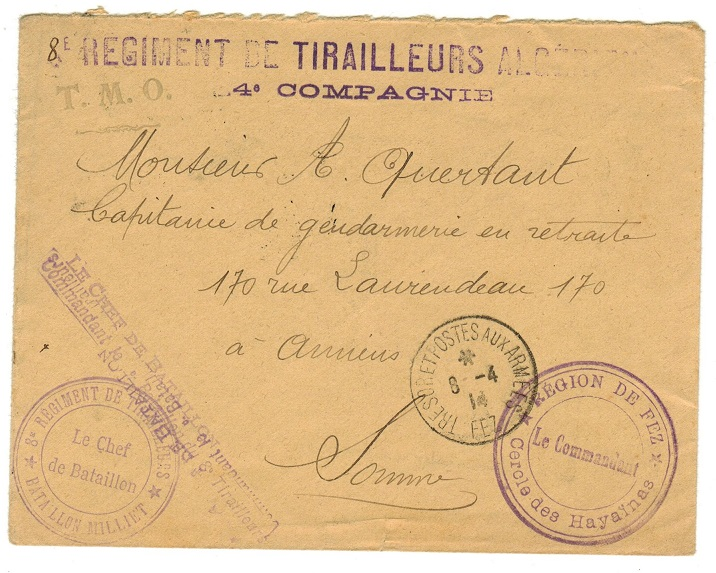 MOROCCO AGENCIES - 1914 Stampless military cover to France.