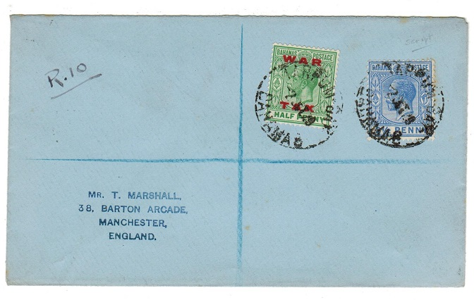 BAHAMAS - 1929 registered cover to UK used at TARPUM BAY.