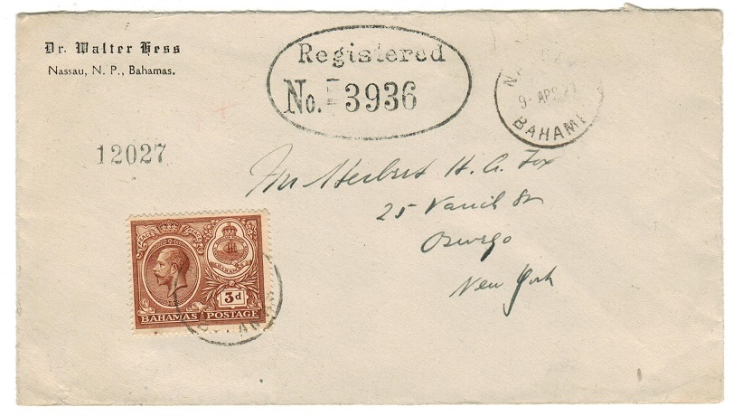 BAHAMAS - 1921 registered cover to USA with rare oval REGISTERED/No. h/s (type RO3).