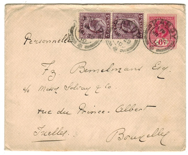 CEYLON - 1907 6c carmine rose PSE uprated to France and used at KANDY. H&G 35.
