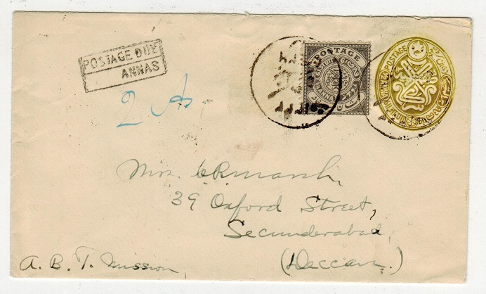 INDIA (Hyderabad) - 1923 1/2a bistre PSE uprated locally and with POSTAGE DUE/ANNAS h/s. H&G 20.