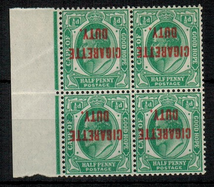 CAPE OF GOOD HOPE - 1902 1/2d green overprinted CIGARETTE DUTY (inverted) in U/M block of 4.