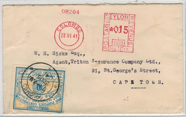 CEYLON - 1941 meter mark cover to South Africa with WAR PURPOSES CONTRIBUTION label.