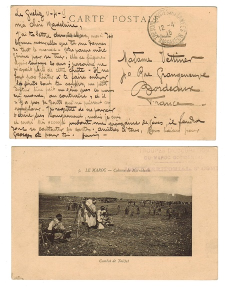 MOROCCO AGENCIES - 1915 military use of postcard to France used at MARRAKESH.