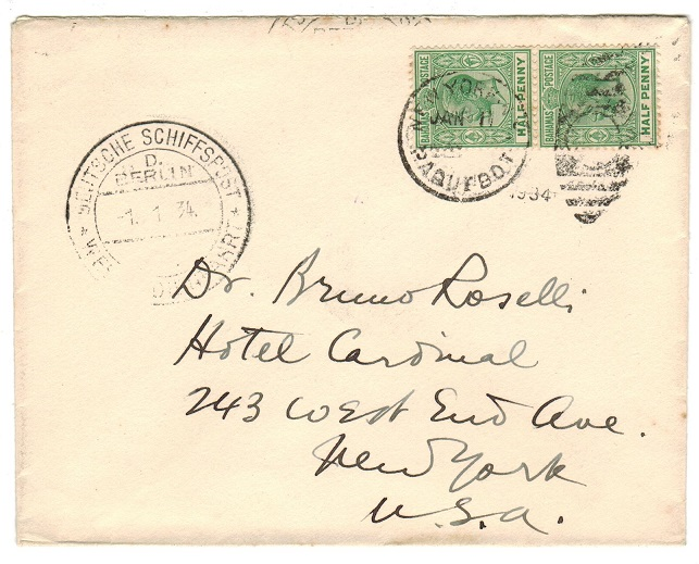 BAHAMAS - 1934 cover to USA carried by DEUTSCHE SCHIFFSPOST with NEW YORK/PAQUEBOT strike.