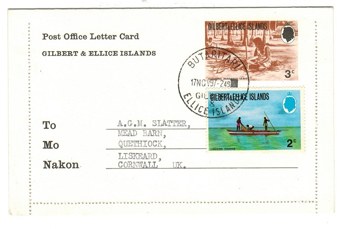 GILBERT AND ELLICE ISLANDS - 1975 3c PS Letter Card cto