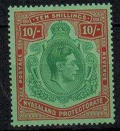 NYASALAND - 1938 10/- emerald and deep red on pale green mint.  SG 142.